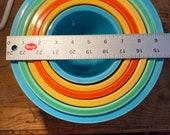 Vintage FiestaWare Nesting Bowls, collectible fiestware,stackable nesting bowls,