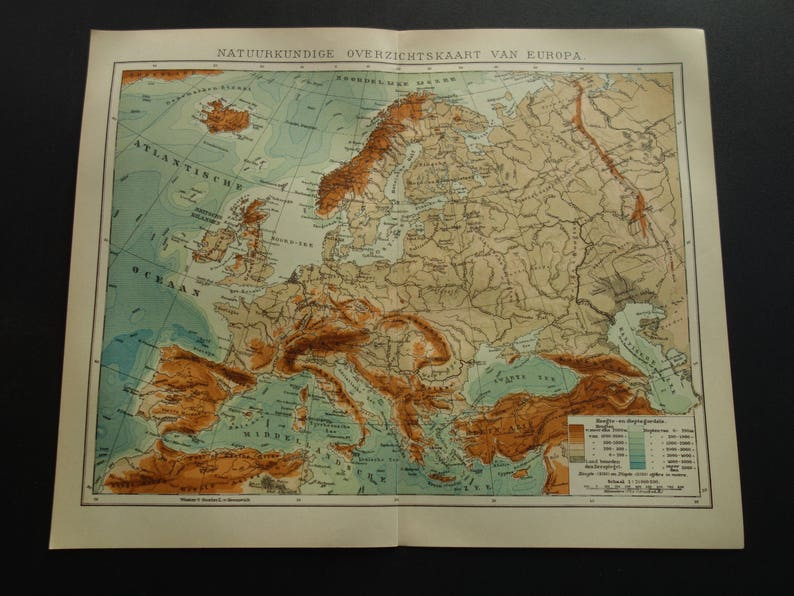 Old Height Map Of Europe 1907 Original Antique Dutch Print Etsy