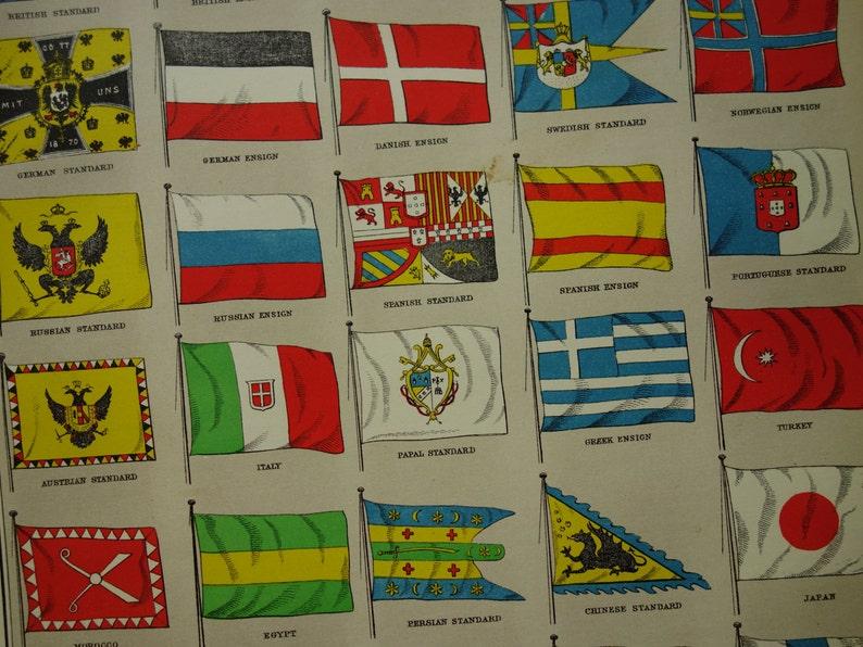 FLAGS old print of flags 1879 original antique flag illustration vintage  prints country world flags drapeaux drapeau - 8x11''
