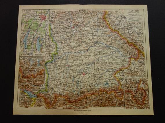 Bayern Old Map Of Bavaria Germany 1926 Vintage Print About Etsy