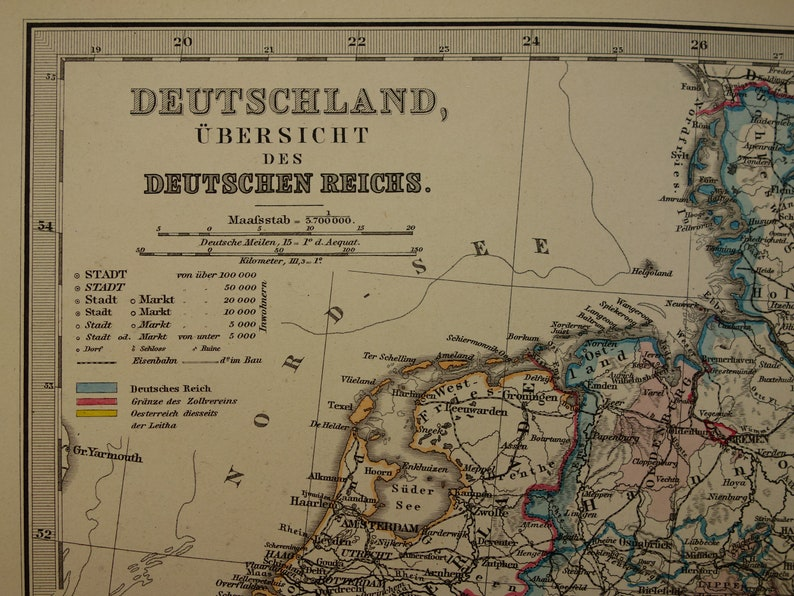 Map Of Germany For Sale.Germany Old Map 1886 Large Original Antique German Empire Poster Hand Colored Vintage Maps Deutschland Deutsche Reich 37x46c 15x18 Inch Big