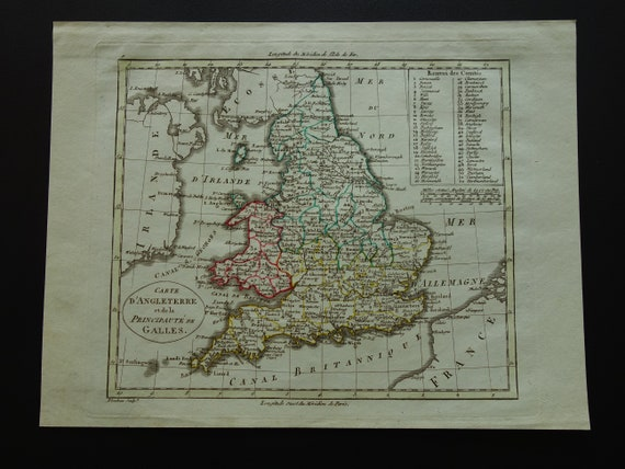 Map Of England 200.England Antique Map 1802 Original 200 Years Old French Etsy