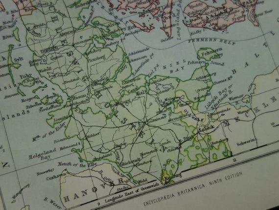 Denmark Old Map Of Denmark 1877 Original Antique English Map Etsy