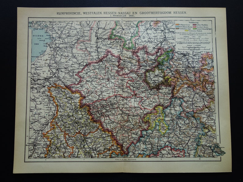Map Of Germany Gottingen.Germany Antique Map Of Cologne Koln Bielefeld Kassel Hannover Dortmund Gottingen 1908 Original Old Dutch Maps Poster
