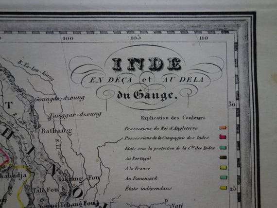 INDIA INDOCHINA old map 1840 Original antique hand-colored | Etsy