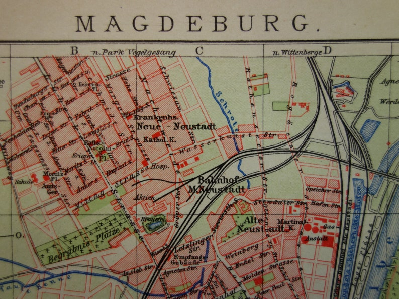 MAGDEBURG old map 1904 original antique city plan of Magdeburg Germany -  set of two detailed vintage maps dated with year 16x24c 6x9