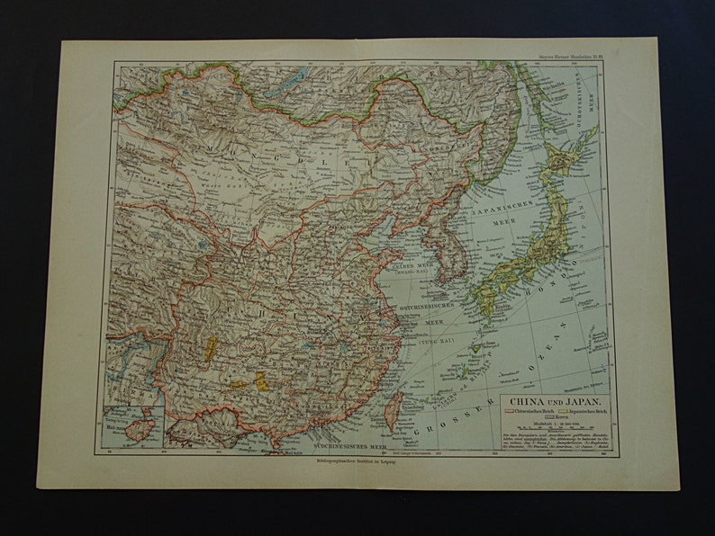 Karte China.China Antique Map Of Chinese Empire 1893 Old Poster About East Asia Korea Japan Vintage Maps Alte Karte Seoul Peking Tokyo 24x32c 9x13