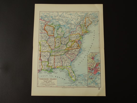 Old map of the United States East Coast - antique 1931 vintage poster  eastern USA New York Orleans Jersey Boston Florida old maps 9x12\