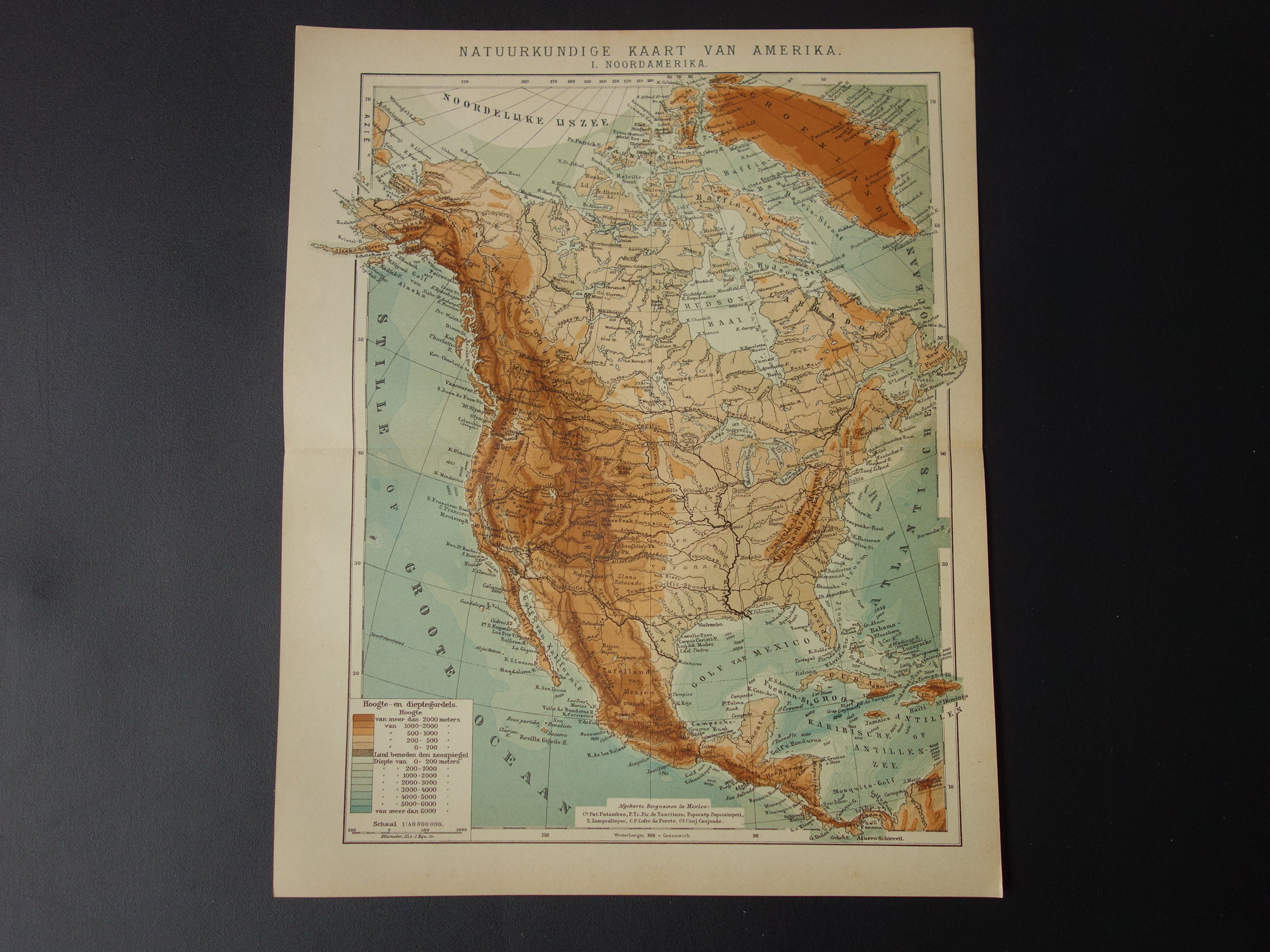 Old North America Map.North America Map Old Height Map Of Us Canada Mexico 1905 Etsy