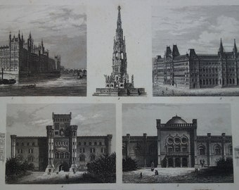 """ARCHITECTURE old print Original antique pictures of  Vienna Arsenal Museum Westminster London poster prints vintage illustration 10x13"""""""