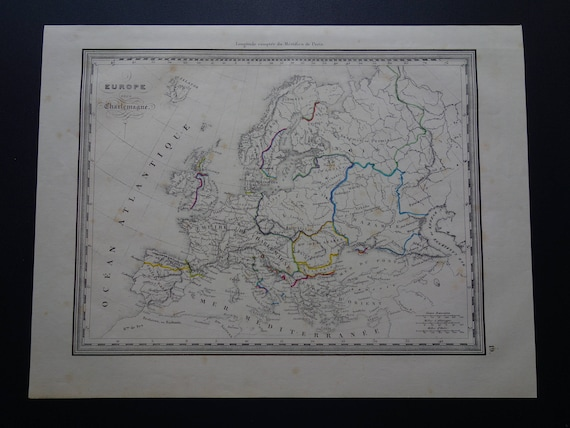 Map Of Europe 1840.Europe Old History Map 1840 Original Antique Hand Colored Etsy