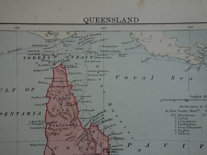 Map Of Australia Qld.Queensland Antique Map Of Australia 1886 Original Old Print Etsy