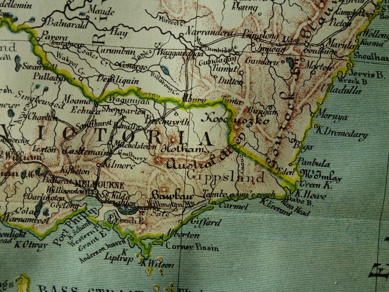 Map Of Nsw And Victoria Australia.Australia Old Map Of Australia 1882 Original Antique Print About Victoria Melbourne Sydney Area Nsw New South Wales Tasmania Vintage Maps