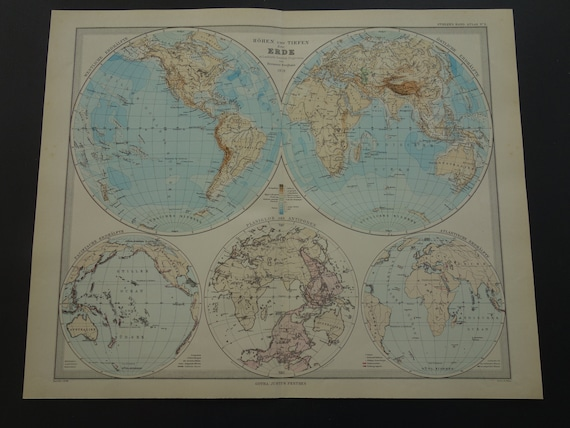 Large Vintage Map Of The World.Vintage World Map Large Original 1884 Antique Double Etsy