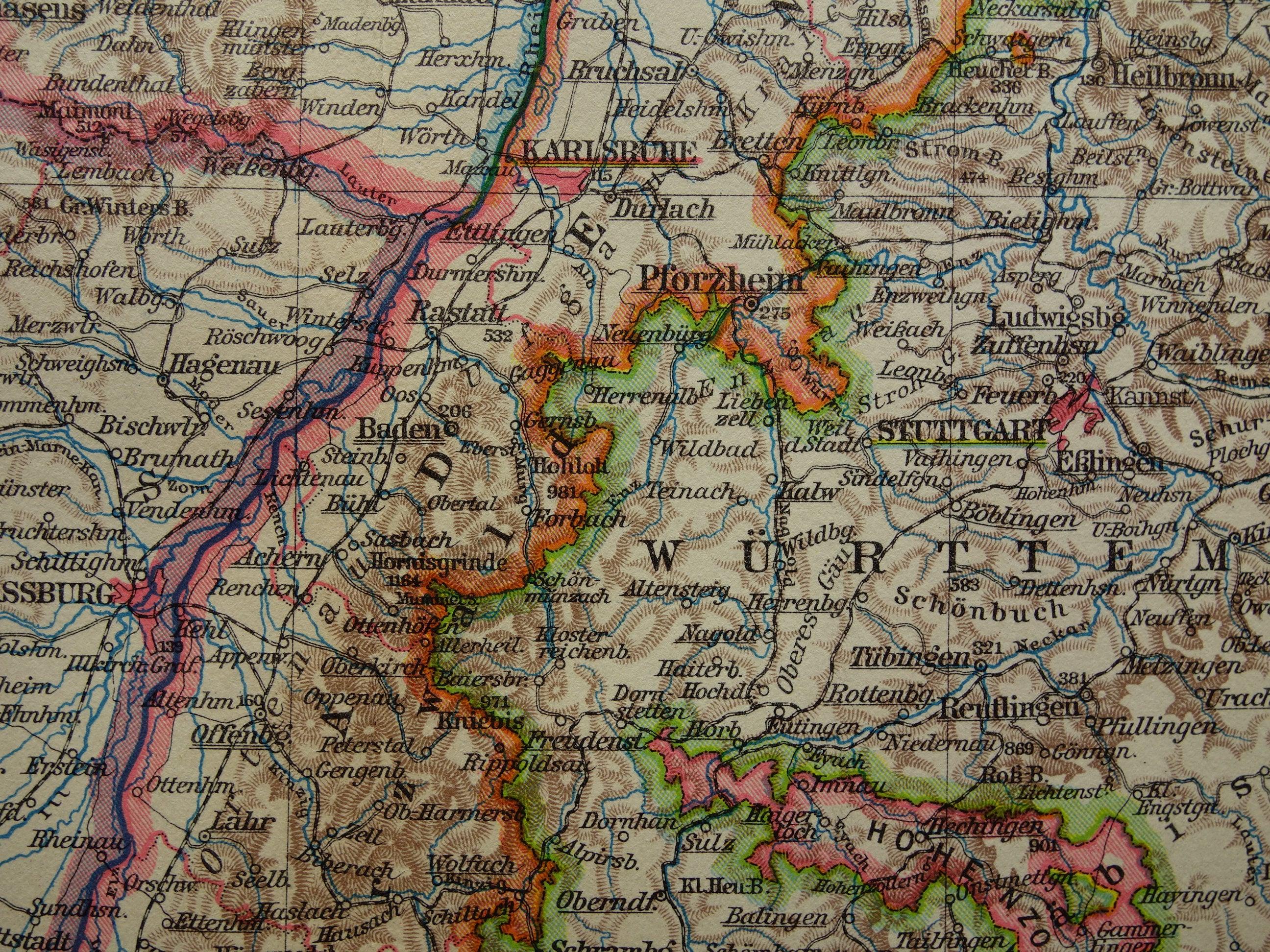 20 alte Karte von Baden Württemberg Deutschland   Etsy