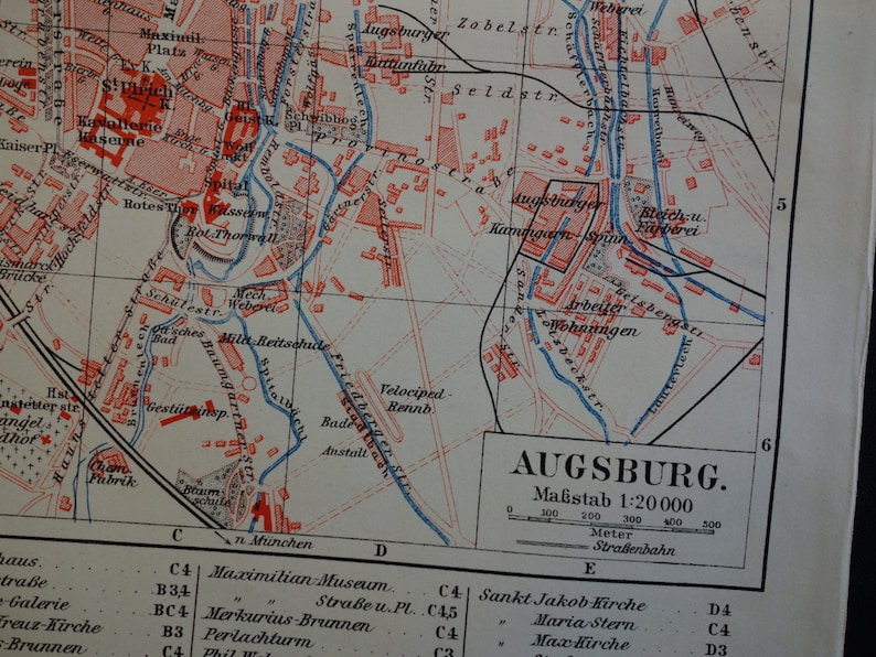 Karte Augsburg.Augsburg Antique Map Of Augsburg 1905 Antique City Plan About Augsburg Alte Karte Historische Stadtplan Von Augsburg Vintage Maps Germany