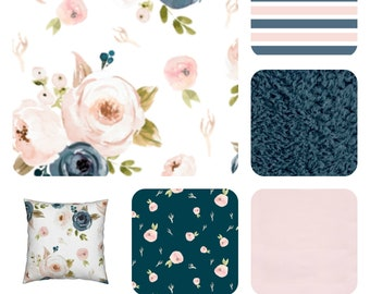 1e45facbe2 Blush pink and blue watercolor floral bedding pink
