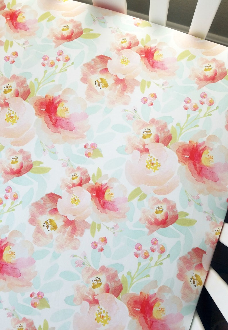 63f592cee Watercolor pastel floral fitted crib or toddler sheet   Etsy