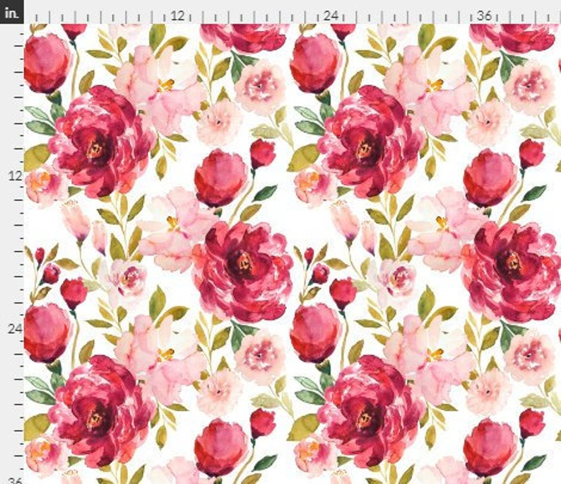 dc1443ad2 Crib sheet in pink and red flowers large watercolor flowers   Etsy
