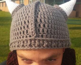226e94a580a Handmade Crochet Viking Beanie with Removable Braided Beard