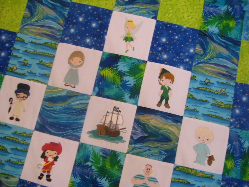 Peter Pan Baby Blanket.Peter Pan Embroidered Baby Quilt Made To Order Patchwork Minky Blanket Blue And Green Crib Bedding Neverland Nursery Handmade Baby Gift