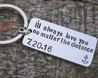 Long Distance Boyfriend Gift, Boyfriend Gift, Anniversary Gifts for Boyfriend, Long Distance Relationship Keychain, Personalized Keychain