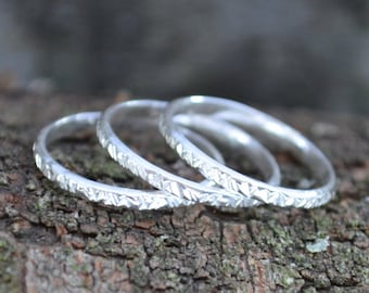 Sterling Silver Rings   Set Of 3   Anniversary Gifts   Girlfriend Gift   Gift For Women   Stackable Rings   Vertical Hammered   Bridesmaids