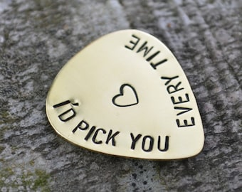 I'd Pick You Every Time, Anniversary Gifts For Men, Personalized Guitar Pick, Men Gift, Boyfriend Gift, Girlfriend Gift, Long Distance Gift