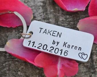 TAKEN Keychain, Mens personalized keychain, Anniversary gifts for men, Engagement Gift, Long Distance Relationship, Boyfriend girlfriend