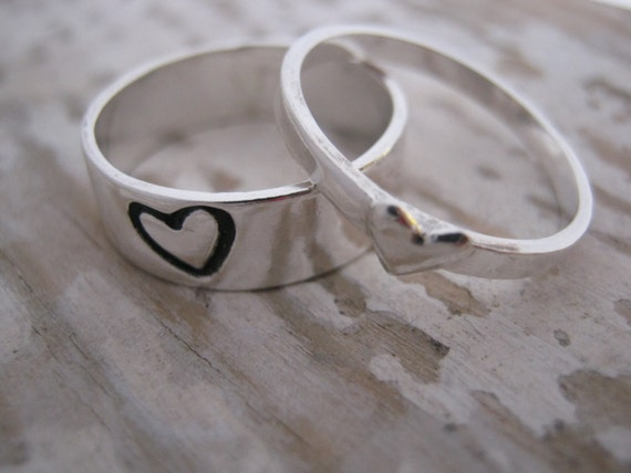 Sterling Silver Promise Rings Couple Ring Set Boyfriend Etsy