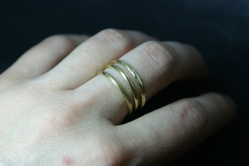 18K gold rings 3 texture rings Gold rings Knuckle ring Stacking rings Stackable gold rings Stack ring Dainty ring