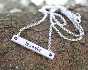 Black Friday, Cyber Monday, Silver Name Bar Necklace | Anniversary Gifts |  Gold Bar Necklace | Personalized Bar | Girlfriend Gift