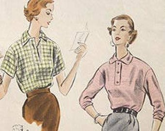 """Vintage 50s Loose Fitting Blouse.  Vogue Sewing Pattern 8072 Size 16,  Bust 34"""""""