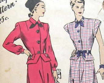 """40s Peplum Blouse & Skirt. Hollywood Sewing Pattern 1739.  Size 18 Bust 36"""""""