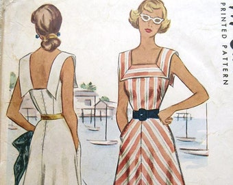 Vintage 40s Sleeveless Summer Dress with Square Neckline. McCall 7302 Sewing Pattern. Size 14 Bust 32""