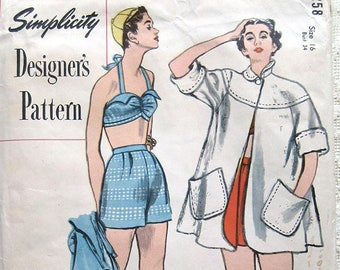 """Vintage 50s Rockabilly Two Piece Halter Bathing Suit w Beach Coat.  Simplicity 8258 Designer Sewing Pattern.  Size 16 Bust 34"""""""