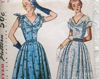 50s Sleeveless Summer Dress, Full Skirt . Simplicity 8397 Sewing Pattern. Size 15 Bust 33""