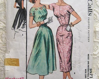 "Vintage 50s Instant Dress Slim or Full Skirt, Bateau Neckline.  McCall 3971 Sewing Pattern. Size 16 Bust 34"""