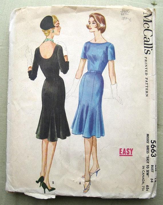 Vintage 50s Form Fitting Dress Flared Tulip Skirt Etsy