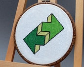 Counted cross stitch pattern , modern cross stitch pattern , geometric pattern , crossstitch pdf , Green arrows , beginner pattern
