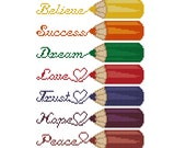Set of 7 pcs bookmarks, cross stitch pattern with colored pencils, embroidery chat with wishes, aida band pattern