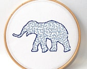 Modern embroidery pattern , Elephant cross stitch , funny crossstitch , xstitch pattern , counted cross stitch ,