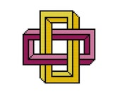 Counted cross stitch pattern - Geometrical illusion rectangle - modern cross stitch pattern - geometric cross stitch pattern - pdf pattern