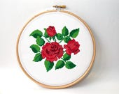Cross stitch pattern Roses , floral xstitch , modern embroidery chart , counted cross stitch , Instant download PDF