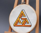 Geometrical triangle cross stitch pattern , modern embroidery pattern , instant download