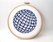 Modern Cross stitch pattern  , Geometric ,  globe , sphere cross stitch