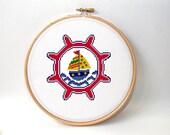 Nautical  cross stitch pattern - Kid cross stitch pattern - beginner pattern - kids room decor - baby pattern - easy pattern - Nautical