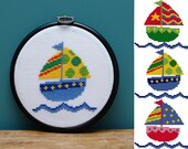 Boats cross stitch pattern , embroidery designs , easy beginner counted chart , kids room decor , nautical wall art , Baby Gift