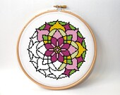 Cross stitch pattern , mandala design , modern embroidery chart , easy beginner xstitch , counted crossstitch , Instant download PDF