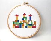 Counted Cross stitch pattern - Nursery Baby Crossstitch Pattern - Crossstitch Pattern - kids room decor - wall art pattern- colorful pattern